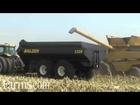 Challenger Combine Unloading Into Balzer 1325 Grain Cart At Farm Progress Show 2012
