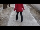 HIDDEN CAMERA: HIGH HEELED SEXY WOMAN ON ICY ROAD