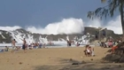 Massive Waves Pound Enclosed Beach (Spectacular Enclosed Beach In Puerto Rico)